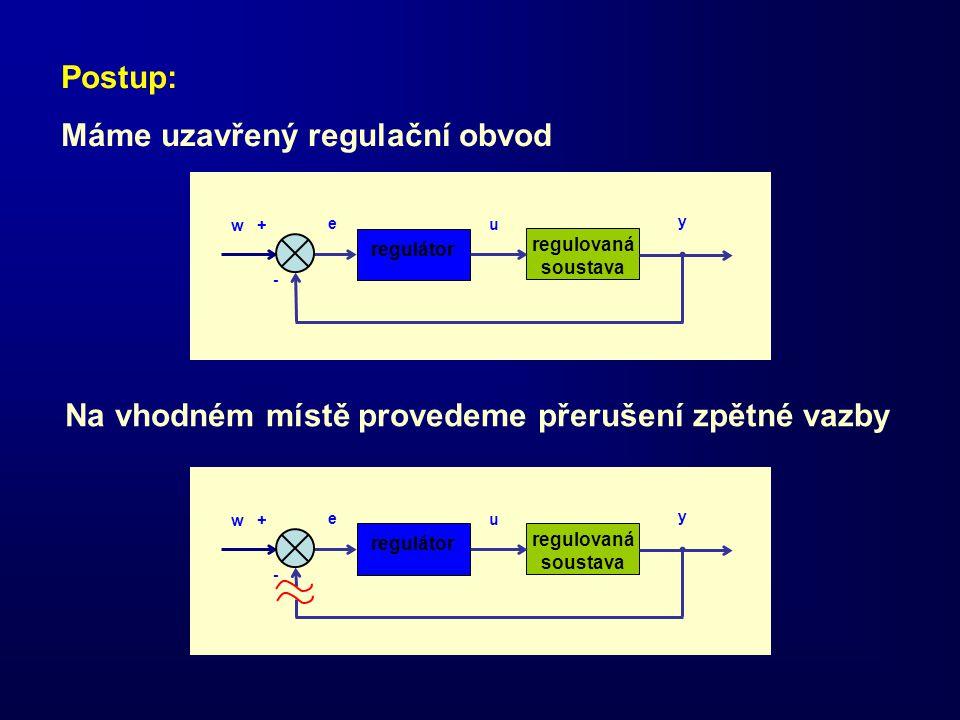 regulátor regulovaná soustava w + e - u y regulátor regulovaná soustava w + e - u y Postup: Máme uzavřený regulační obvod Na vhodném místě provedeme p
