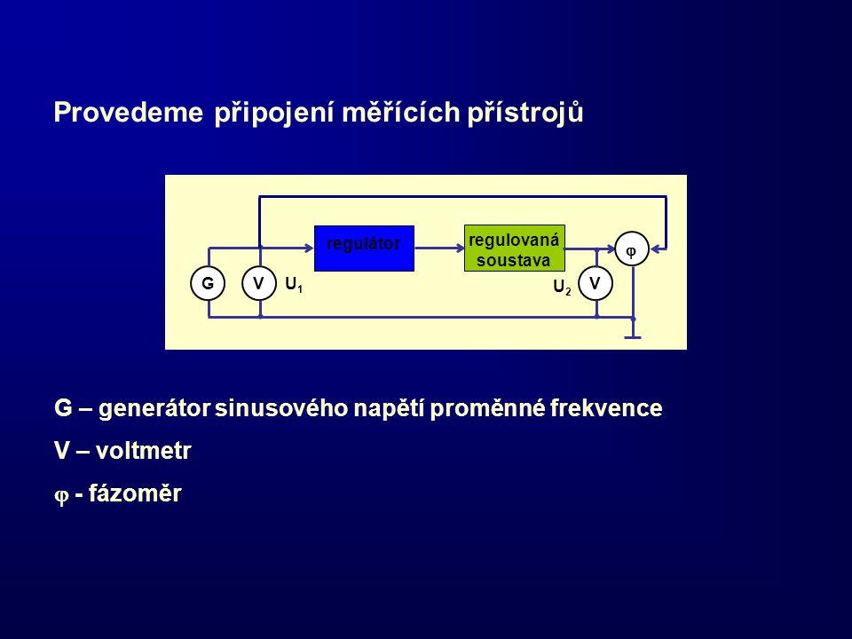 regulátor regulovaná soustava GVV  U1U1 U2U2 Provedeme připojení měřících přístrojů G – generátor sinusového napětí proměnné frekvence V – voltmetr 