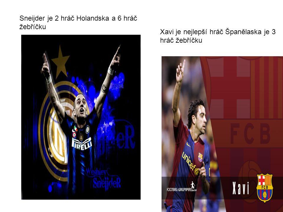 Xavi je nejlepší hráč Španělaska je 3 hráč žebříčku Sneijder je 2 hráč Holandska a 6 hráč žebříčku