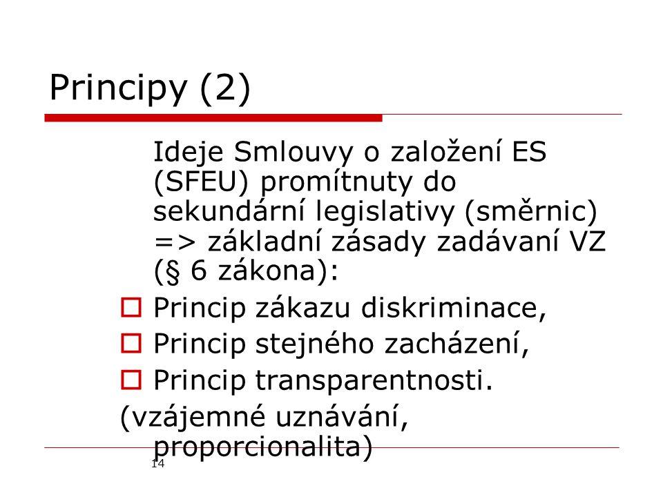 14 Principy (2) Ideje Smlouvy o založení ES (SFEU) promítnuty do sekundární legislativy (směrnic) => základní zásady zadávaní VZ (§ 6 zákona):  Princip zákazu diskriminace,  Princip stejného zacházení,  Princip transparentnosti.