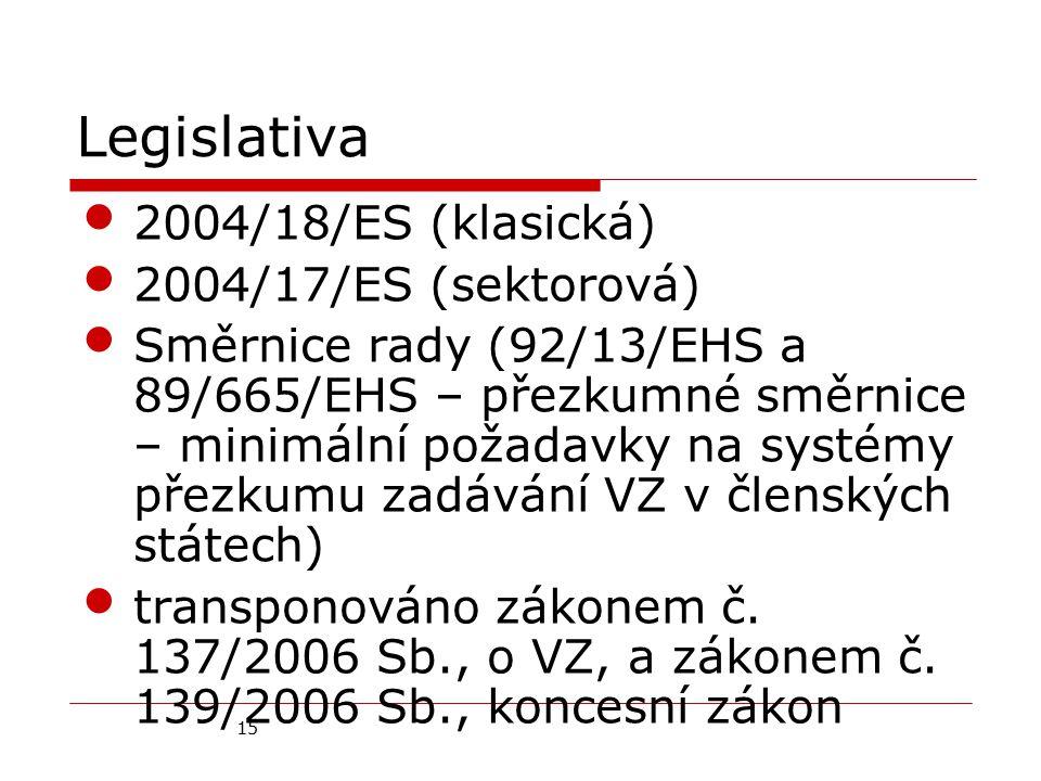 15 Legislativa 2004/18/ES (klasická) 2004/17/ES (sektorová) Směrnice rady (92/13/EHS a 89/665/EHS – přezkumné směrnice – minimální požadavky na systémy přezkumu zadávání VZ v členských státech) transponováno zákonem č.