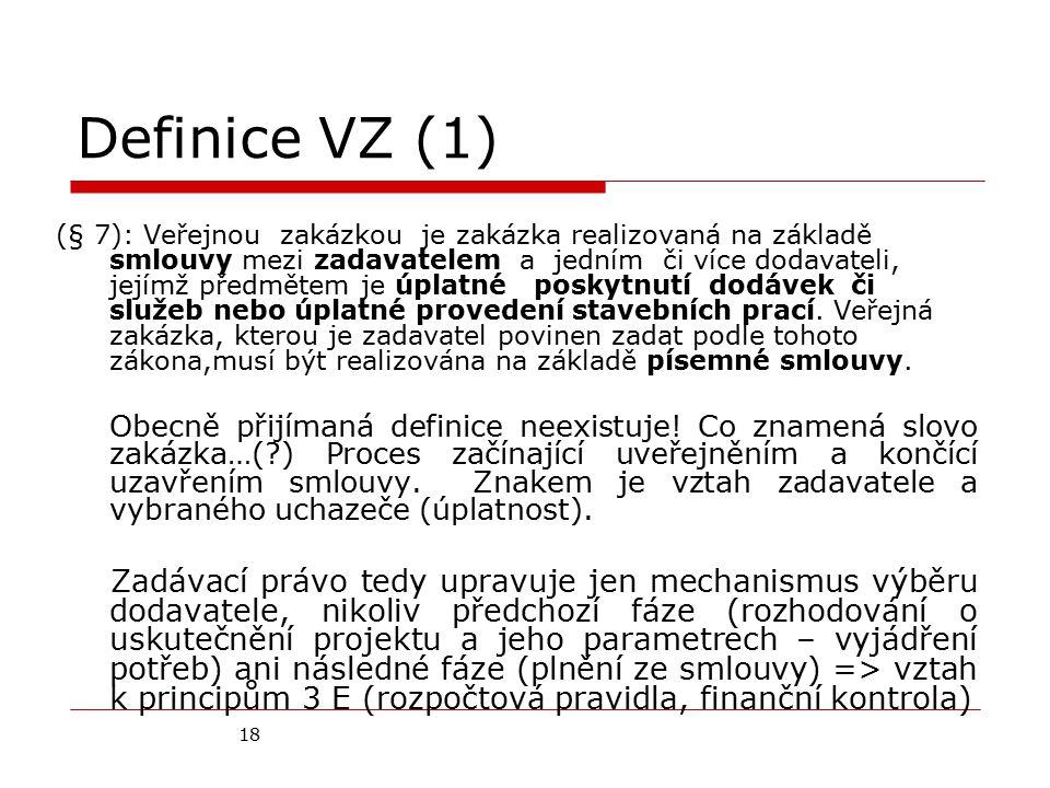 18 Definice VZ (1) (§ 7): Veřejnou zakázkou je zakázka realizovaná na základě smlouvy mezi zadavatelem a jedním či více dodavateli, jejímž předmětem j