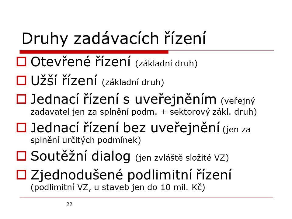22 Druhy zadávacích řízení  Otevřené řízení (základní druh)  Užší řízení (základní druh)  Jednací řízení s uveřejněním (veřejný zadavatel jen za splnění podm.