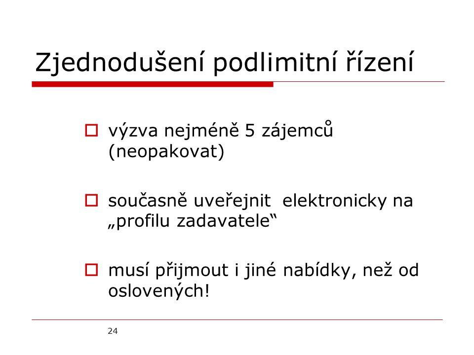"""24 Zjednodušení podlimitní řízení  výzva nejméně 5 zájemců (neopakovat)  současně uveřejnit elektronicky na """"profilu zadavatele  musí přijmout i jiné nabídky, než od oslovených!"""