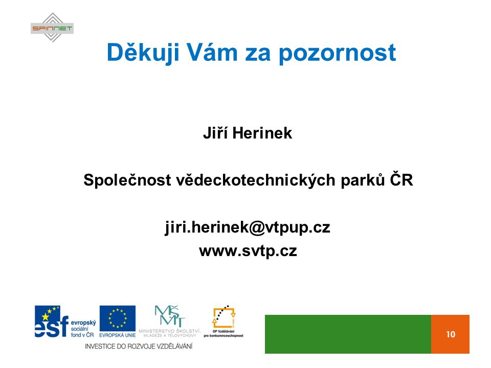 10 Děkuji Vám za pozornost Jiří Herinek Společnost vědeckotechnických parků ČR jiri.herinek@vtpup.cz www.svtp.cz