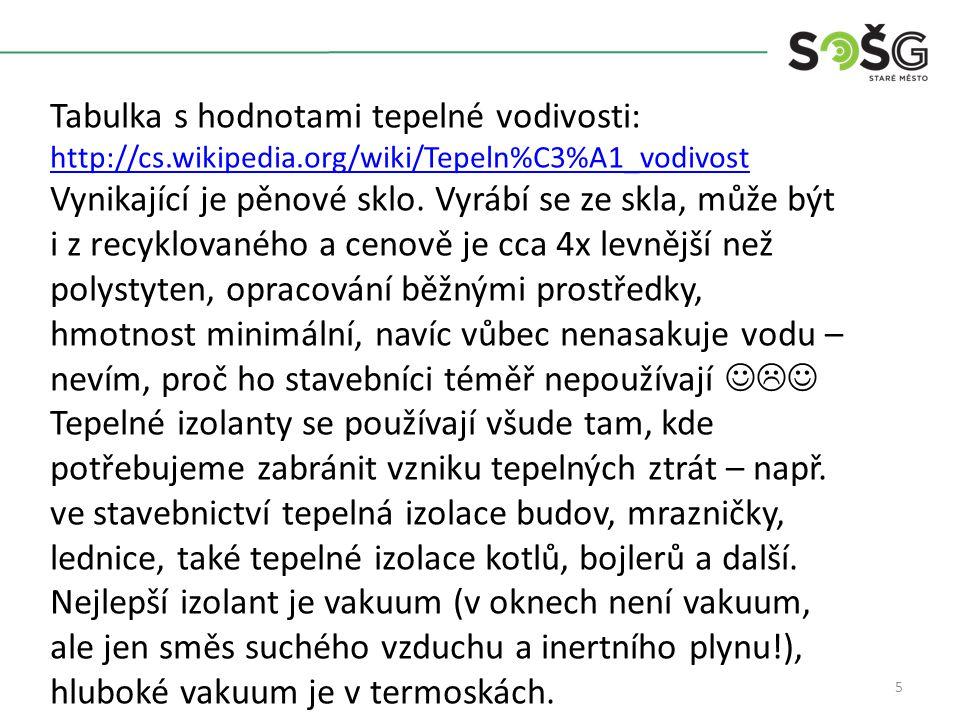 5 Tabulka s hodnotami tepelné vodivosti: http://cs.wikipedia.org/wiki/Tepeln%C3%A1_vodivost Vynikající je pěnové sklo.