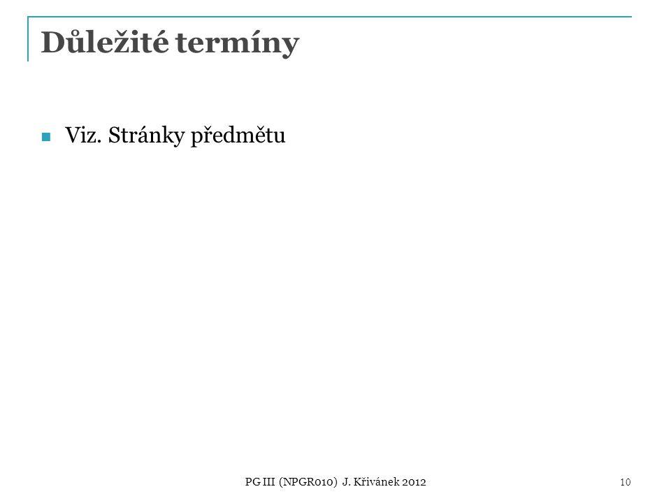 Důležité termíny Viz. Stránky předmětu PG III (NPGR010) J. Křivánek 2012 10