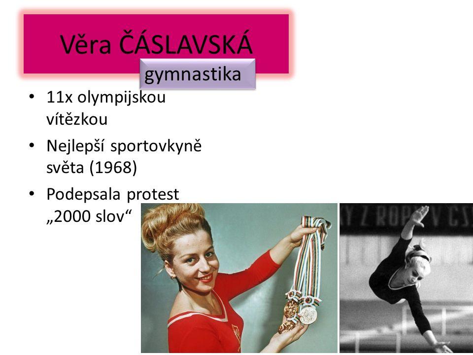 """Věra ČÁSLAVSKÁ 11x olympijskou vítězkou Nejlepší sportovkyně světa (1968) Podepsala protest """"2000 slov gymnastika"""
