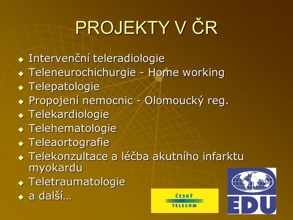 PROJEKTY V ČR  Intervenční teleradiologie  Teleneurochichurgie - Home working  Telepatologie  Propojení nemocnic - Olomoucký reg.  Telekardiologi