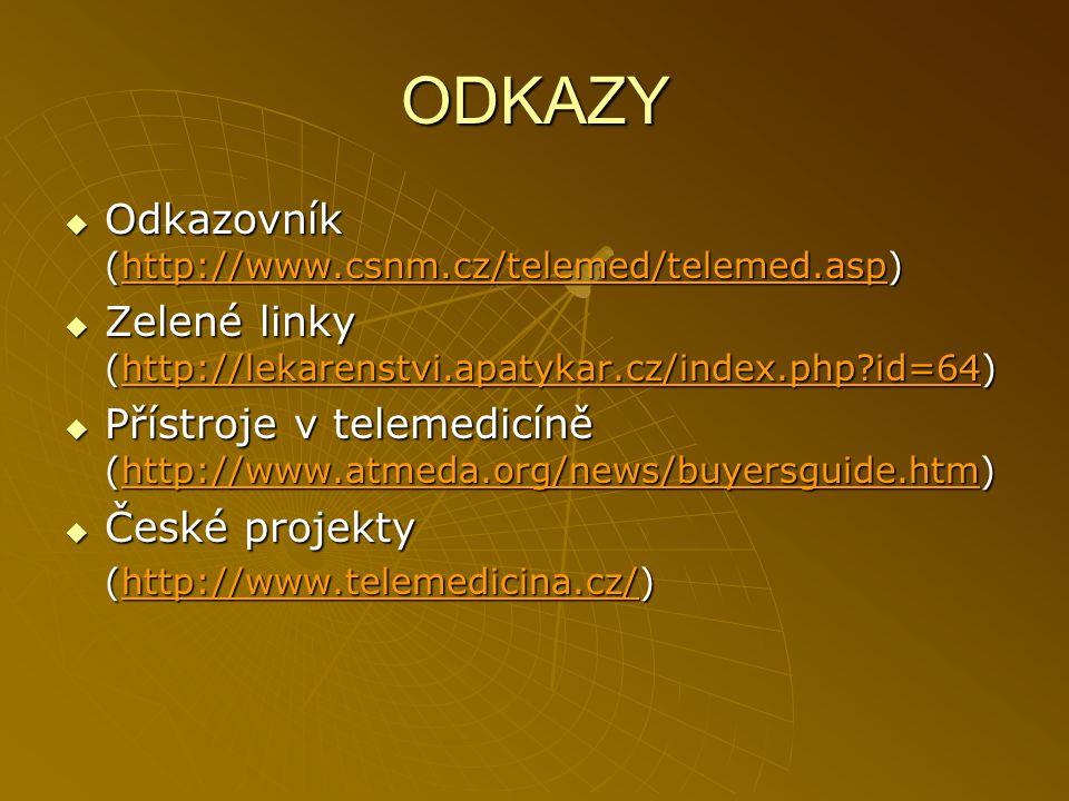 ODKAZY  Odkazovník (http://www.csnm.cz/telemed/telemed.asp) http://www.csnm.cz/telemed/telemed.asp  Zelené linky (http://lekarenstvi.apatykar.cz/ind