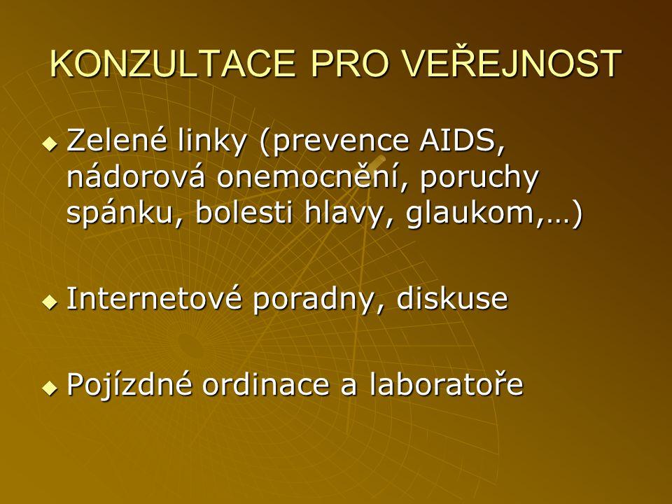 KONZULTACE PRO VEŘEJNOST  Zelené linky (prevence AIDS, nádorová onemocnění, poruchy spánku, bolesti hlavy, glaukom,…)  Internetové poradny, diskuse