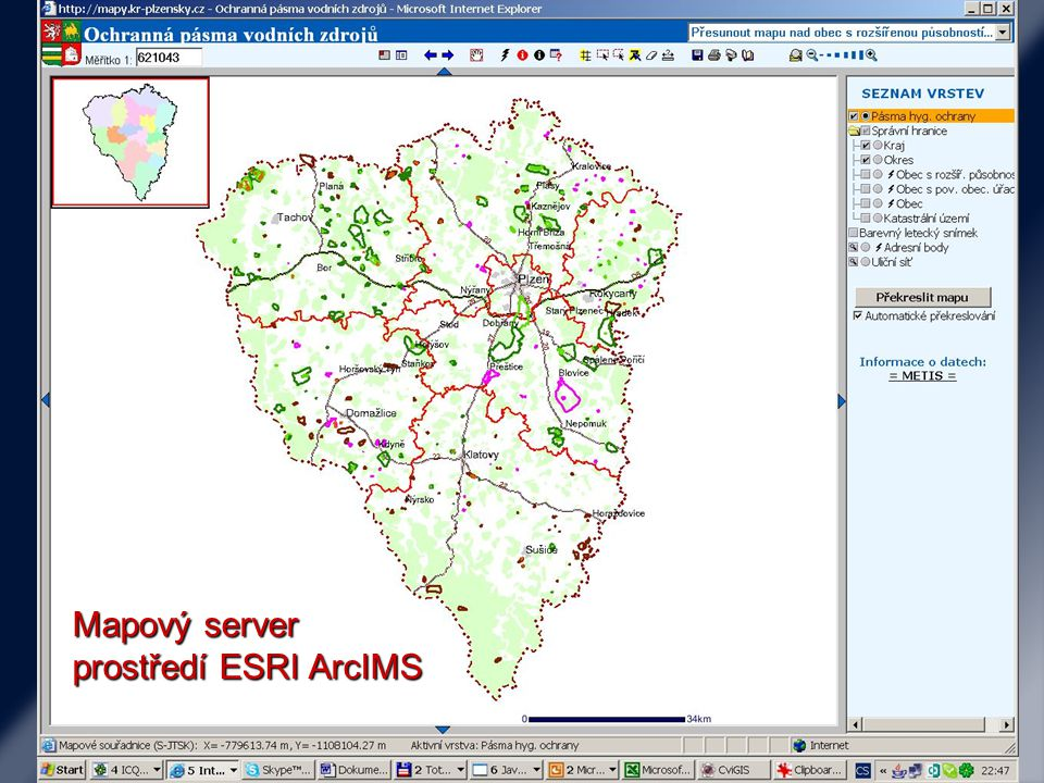 Mapový server prostředí Minnesota Map server