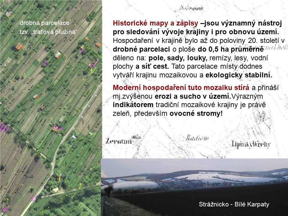 Historické mapy a zápisy –jsou významný nástroj pro sledování vývoje krajiny i pro obnovu území. Hospodaření v krajině bylo až do poloviny 20. století