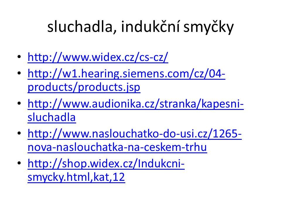 sluchadla, indukční smyčky http://www.widex.cz/cs-cz/ http://w1.hearing.siemens.com/cz/04- products/products.jsp http://w1.hearing.siemens.com/cz/04-