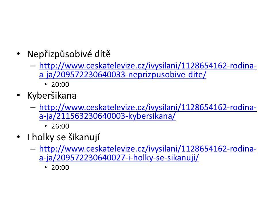 Nepřizpůsobivé dítě – http://www.ceskatelevize.cz/ivysilani/1128654162-rodina- a-ja/209572230640033-neprizpusobive-dite/ http://www.ceskatelevize.cz/i