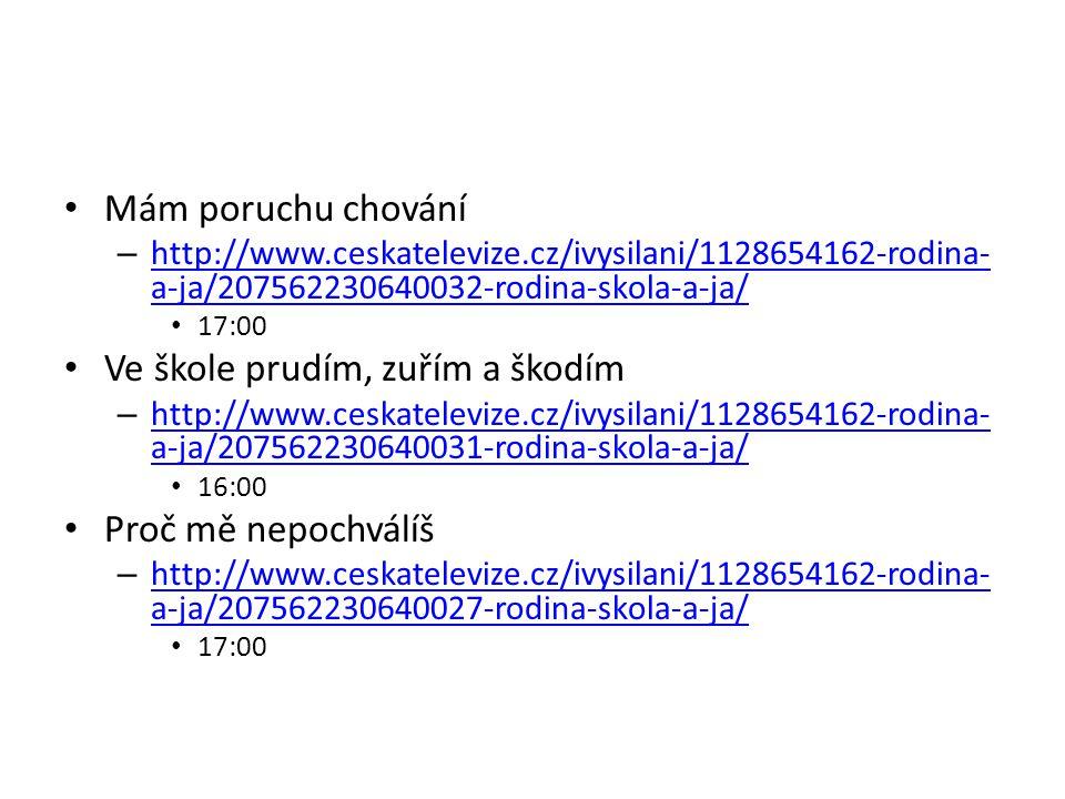 Mám poruchu chování – http://www.ceskatelevize.cz/ivysilani/1128654162-rodina- a-ja/207562230640032-rodina-skola-a-ja/ http://www.ceskatelevize.cz/ivy