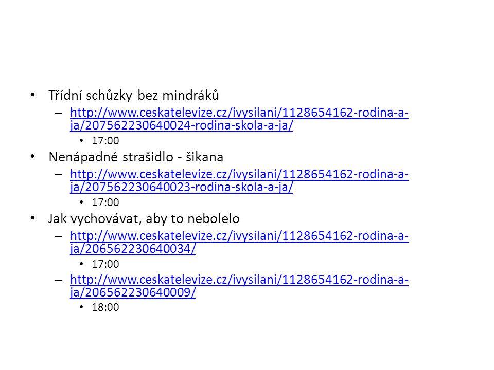 Třídní schůzky bez mindráků – http://www.ceskatelevize.cz/ivysilani/1128654162-rodina-a- ja/207562230640024-rodina-skola-a-ja/ http://www.ceskateleviz
