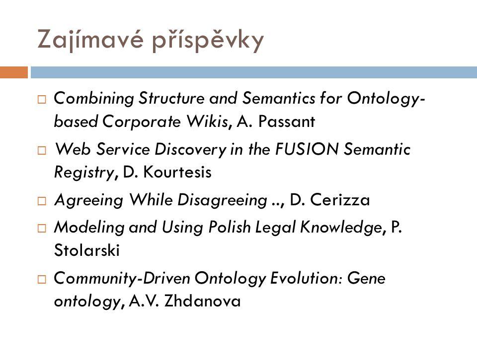 Zajímavé příspěvky  Combining Structure and Semantics for Ontology- based Corporate Wikis, A.