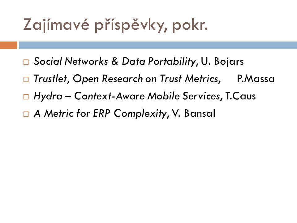Zajímavé příspěvky, pokr.  Social Networks & Data Portability, U.