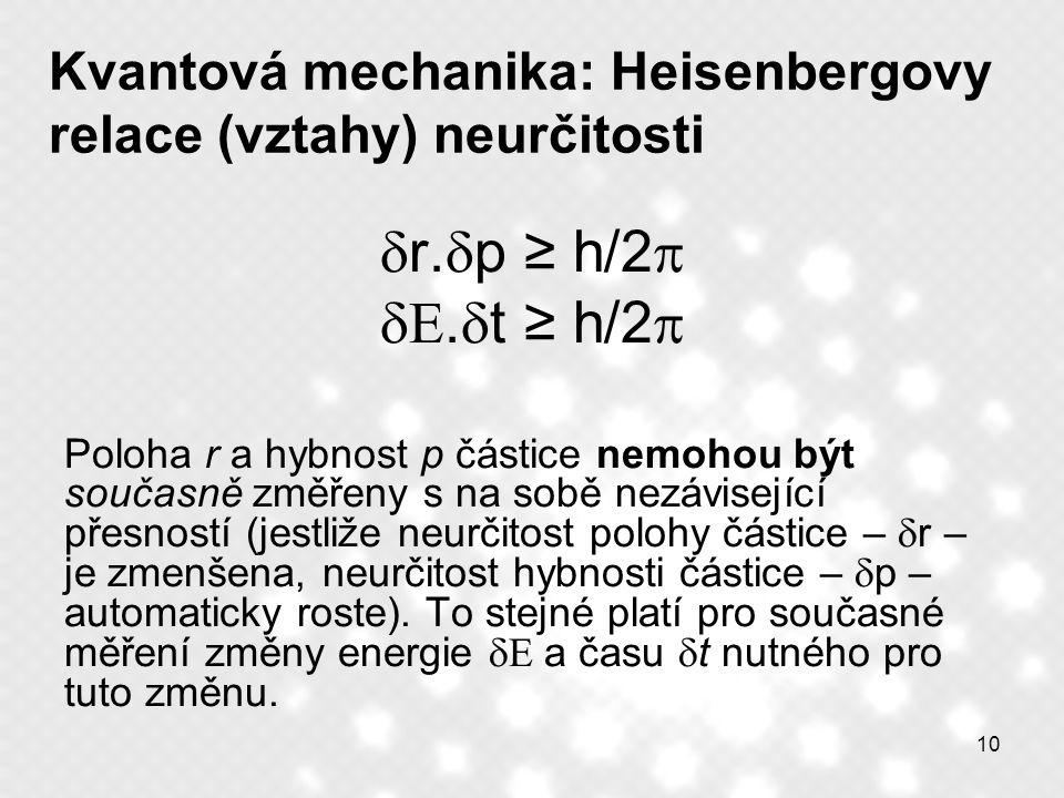 10 Kvantová mechanika: Heisenbergovy relace (vztahy) neurčitosti  r.  p ≥ h/2  .  t ≥ h/2  Poloha r a hybnost p částice nemohou být současně zm
