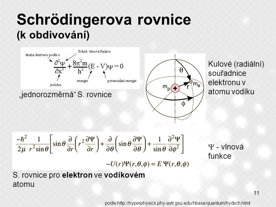 """11 Schrödingerova rovnice (k obdivování) """"jednorozměrná"""" S. rovnice Kulové (radiální) souřadnice elektronu v atomu vodíku  - vlnová funkce S. rovnice"""