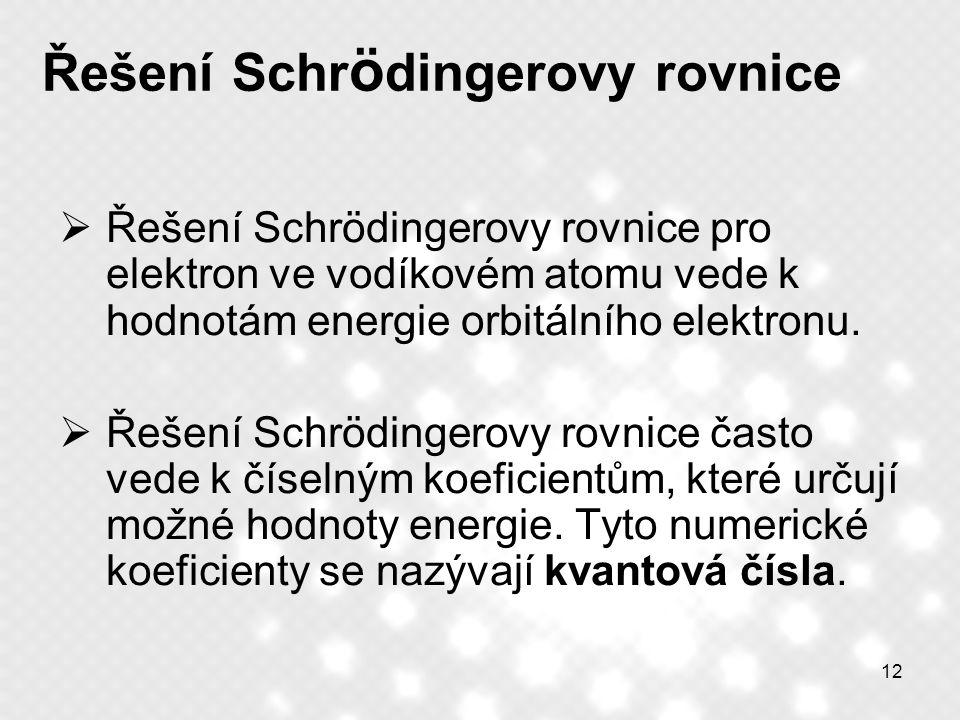 12 Řešení Schr ö dingerovy rovnice  Řešení Schrödingerovy rovnice pro elektron ve vodíkovém atomu vede k hodnotám energie orbitálního elektronu.  Ře