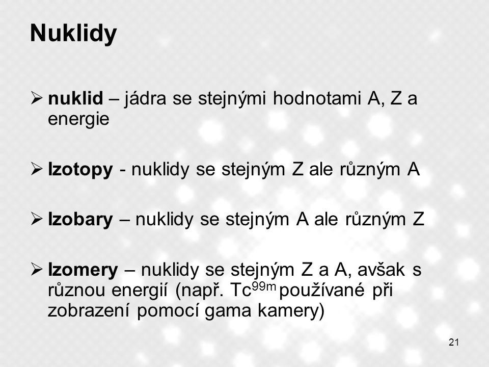 21 Nuklidy  nuklid – jádra se stejnými hodnotami A, Z a energie  Izotopy - nuklidy se stejným Z ale různým A  Izobary – nuklidy se stejným A ale rů