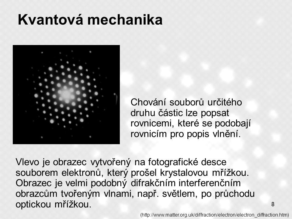 8 Kvantová mechanika Chování souborů určitého druhu částic lze popsat rovnicemi, které se podobají rovnicím pro popis vlnění. (http://www.matter.org.u