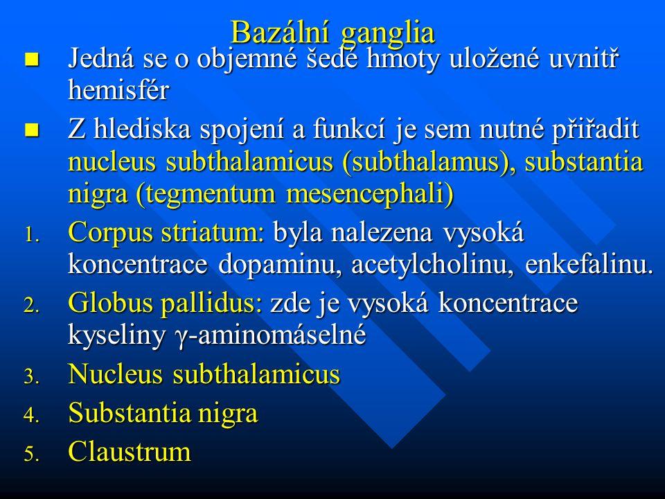 Bazální ganglia Jedná se o objemné šedé hmoty uložené uvnitř hemisfér Jedná se o objemné šedé hmoty uložené uvnitř hemisfér Z hlediska spojení a funkc
