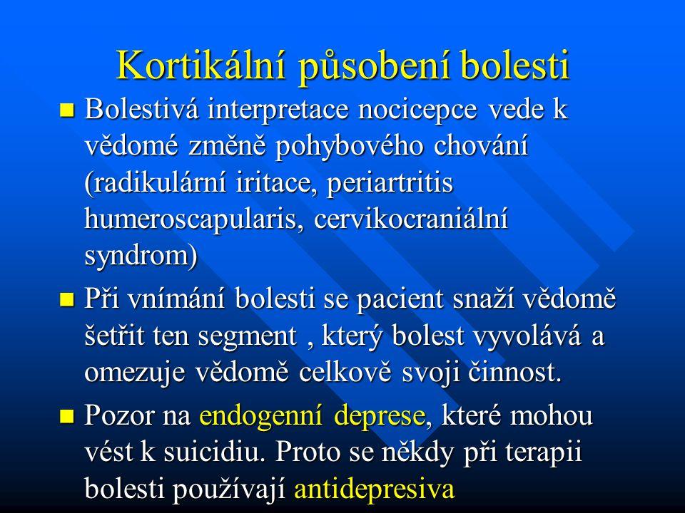 Kortikální působení bolesti Bolestivá interpretace nocicepce vede k vědomé změně pohybového chování (radikulární iritace, periartritis humeroscapulari