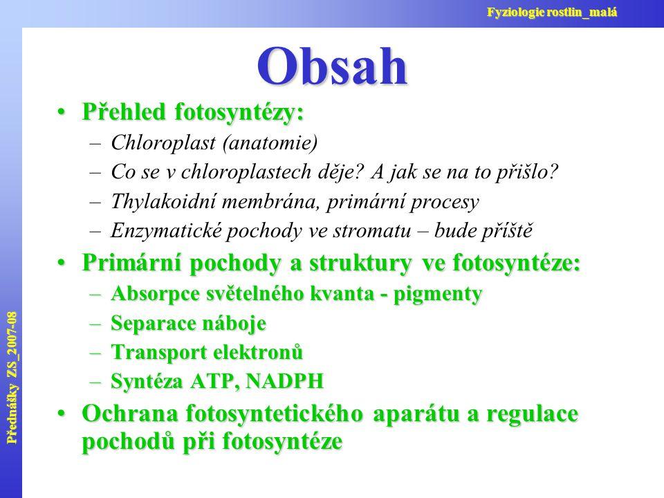 Obsah Přehled fotosyntézy:Přehled fotosyntézy: –Chloroplast (anatomie) –Co se v chloroplastech děje? A jak se na to přišlo? –Thylakoidní membrána, pri