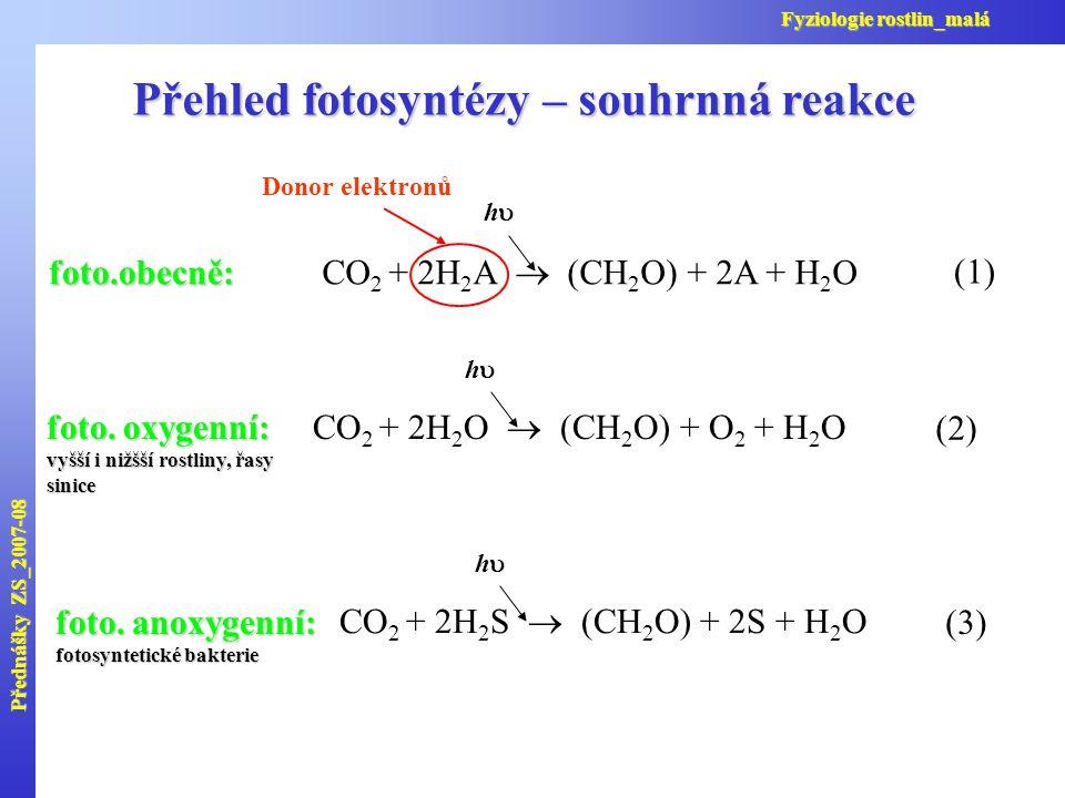 CO 2 + 2H 2 A  (CH 2 O) + 2A + H 2 O hh (1) Donor elektronůfoto.obecně: CO 2 + 2H 2 O  (CH 2 O) + O 2 + H 2 O hh (2) foto. oxygenní: vyšší i niž
