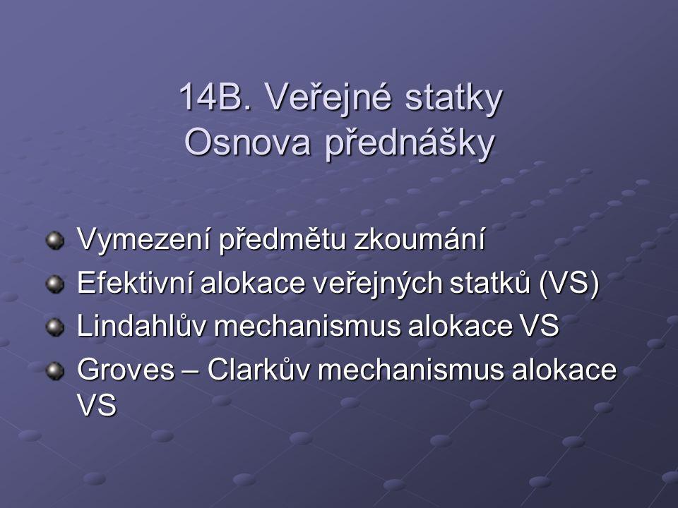 14B. Veřejné statky Osnova přednášky Vymezení předmětu zkoumání Efektivní alokace veřejných statků (VS) Lindahlův mechanismus alokace VS Groves – Clar