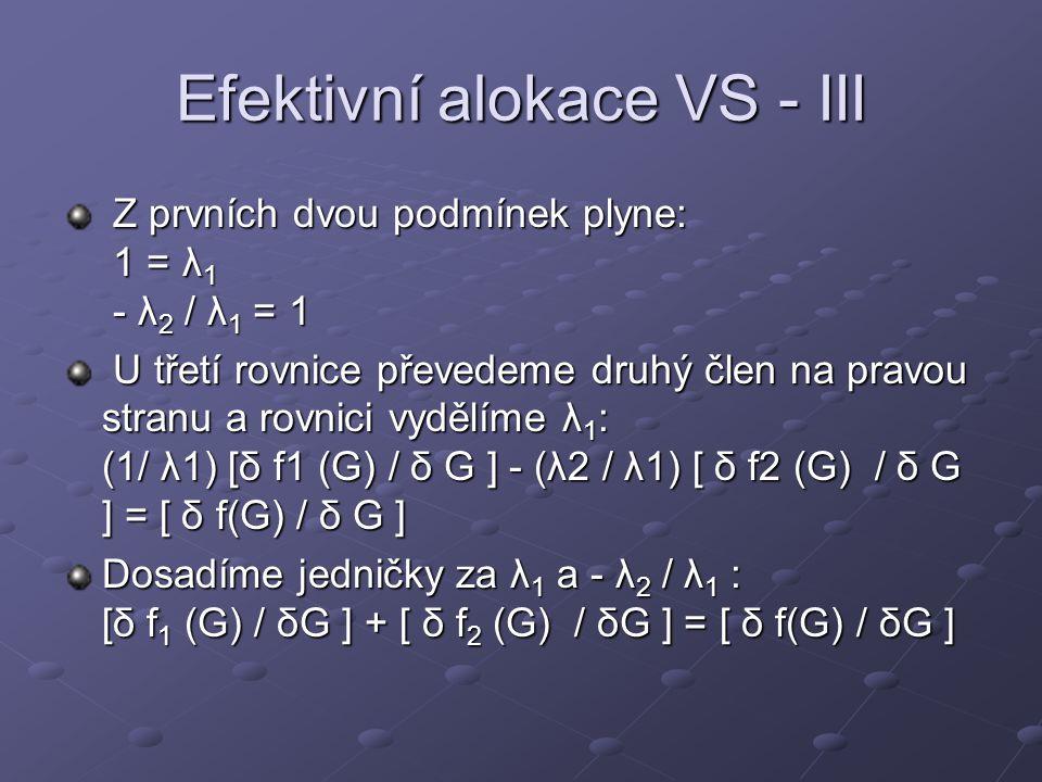 Efektivní alokace VS - III Z prvních dvou podmínek plyne: 1 = λ 1 - λ 2 / λ 1 = 1 Z prvních dvou podmínek plyne: 1 = λ 1 - λ 2 / λ 1 = 1 U třetí rovni