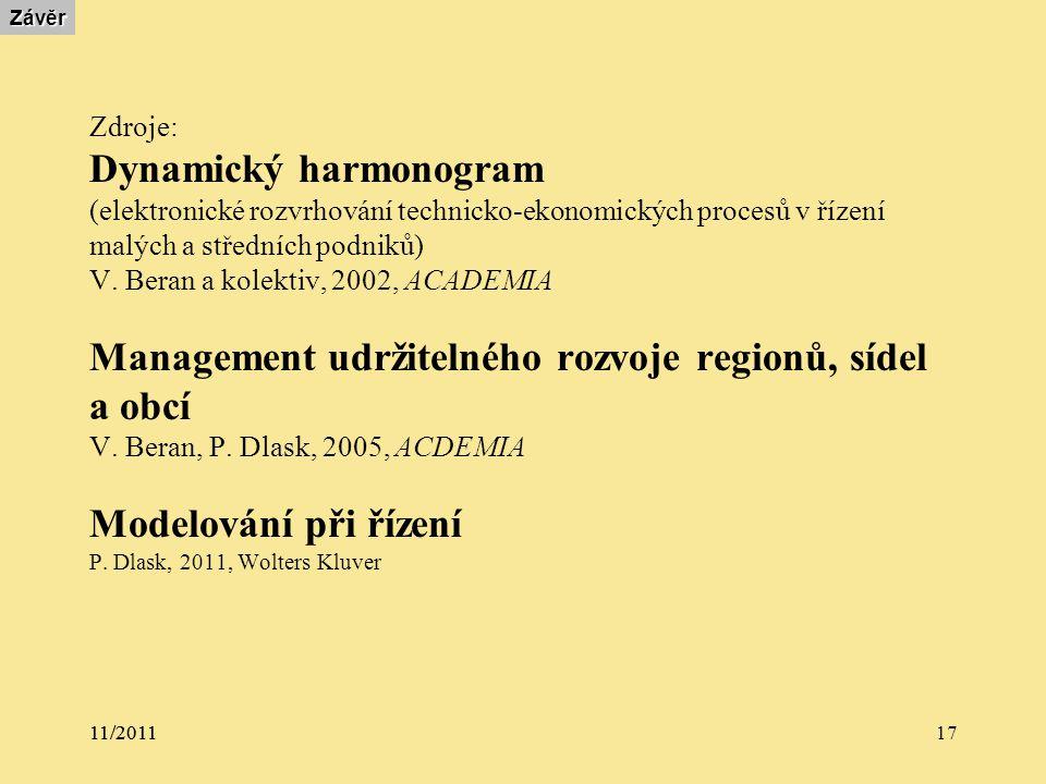 11/2011 17Závěr Zdroje: Dynamický harmonogram (elektronické rozvrhování technicko-ekonomických procesů v řízení malých a středních podniků) V.
