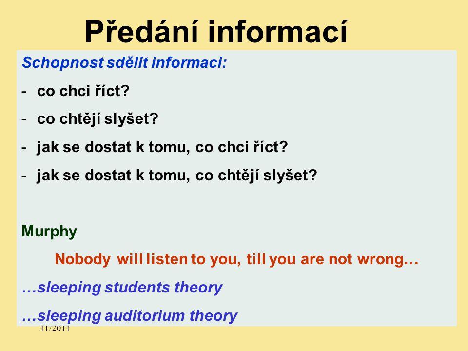 11/2011 Schopnost sdělit informaci: -co chci říct.