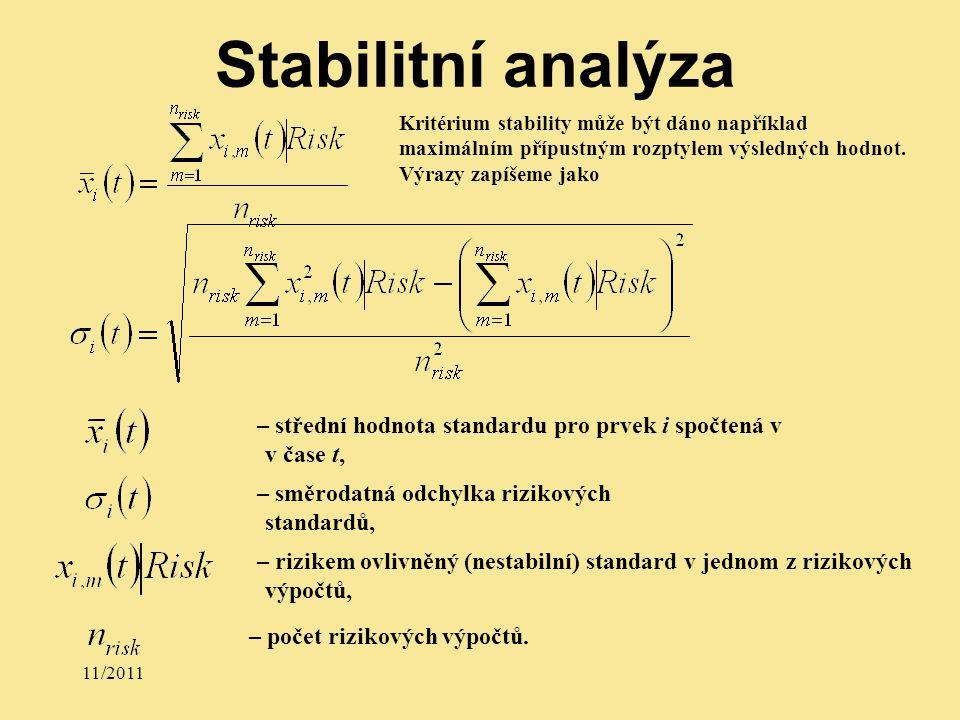 11/2011 Kritérium stability může být dáno například maximálním přípustným rozptylem výsledných hodnot.