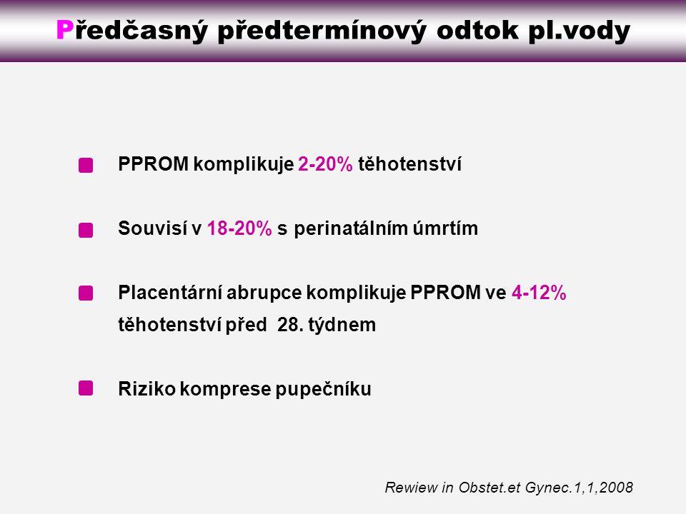 Preterm premature rupture of membranes PPROM komplikuje 2-20% těhotenství Souvisí v 18-20% s perinatálním úmrtím Placentární abrupce komplikuje PPROM ve 4-12% těhotenství před 28.