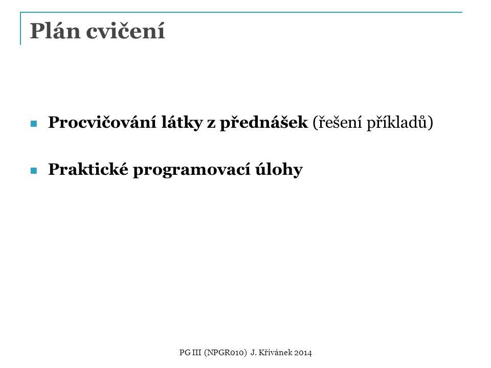 Plán cvičení Procvičování látky z přednášek (řešení příkladů) Praktické programovací úlohy PG III (NPGR010) J.