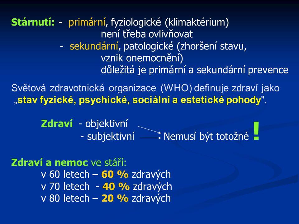 Stárnutí: - primární, fyziologické (klimaktérium) není třeba ovlivňovat - sekundární, patologické (zhoršení stavu, vznik onemocnění) důležitá je primá
