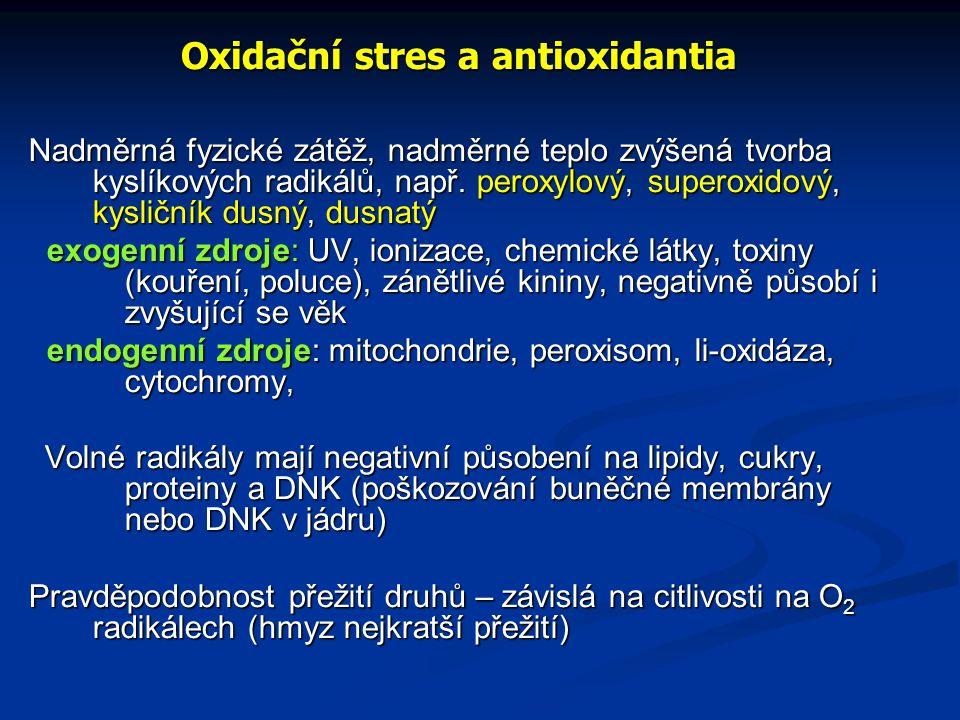 Oxidační stres a antioxidantia Nadměrná fyzické zátěž, nadměrné teplo zvýšená tvorba kyslíkových radikálů, např. peroxylový, superoxidový, kysličník d