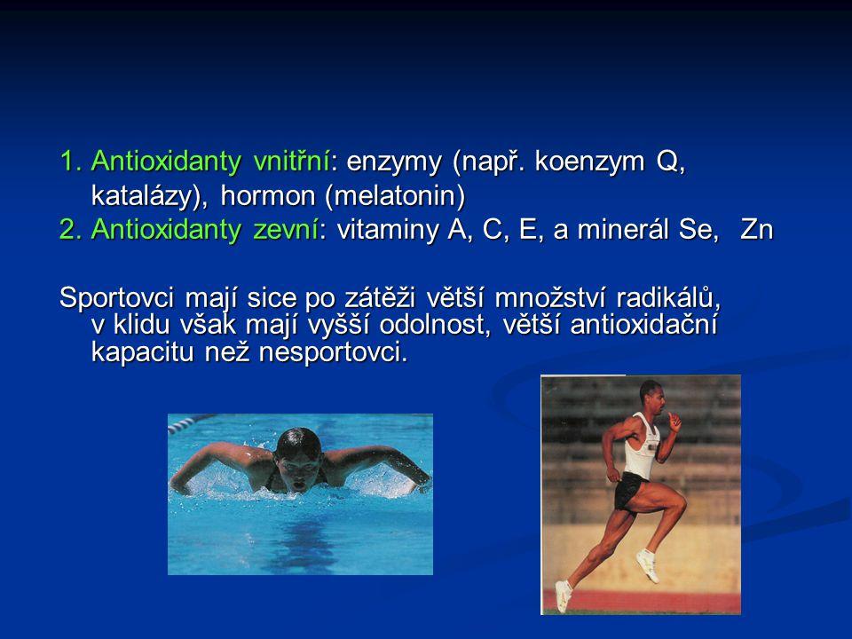 1.Antioxidanty vnitřní: enzymy (např. koenzym Q, katalázy), hormon (melatonin) 2.Antioxidanty zevní: vitaminy A, C, E, a minerál Se, Zn Sportovci mají