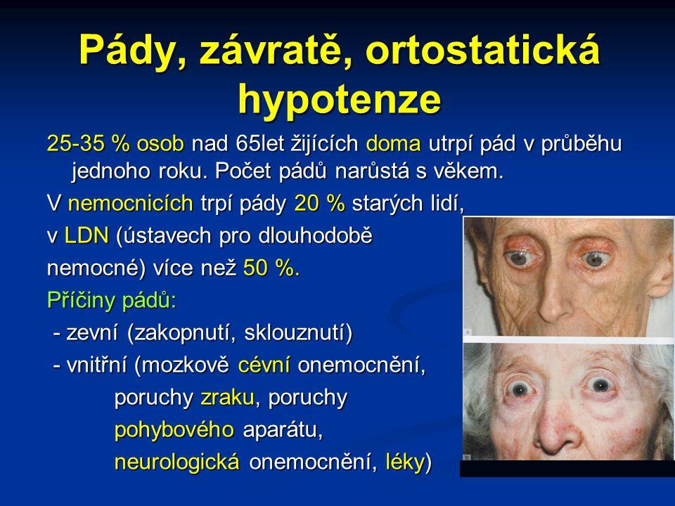 Pády, závratě, ortostatická hypotenze 25-35 % osob nad 65let žijících doma utrpí pád v průběhu jednoho roku. Počet pádů narůstá s věkem. V nemocnicích