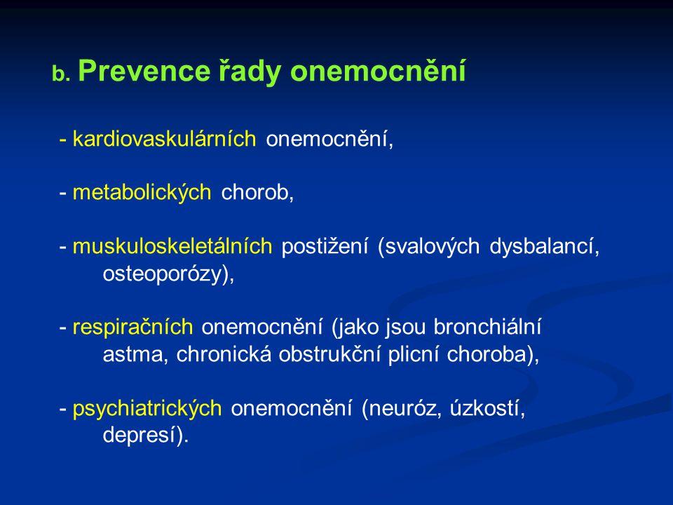 b. Prevence řady onemocnění - kardiovaskulárních onemocnění, - metabolických chorob, - muskuloskeletálních postižení (svalových dysbalancí, osteoporóz