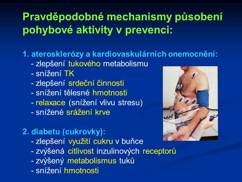 Pravděpodobné mechanismy působení pohybové aktivity v prevenci: 1. aterosklerózy a kardiovaskulárních onemocnění: - zlepšení tukového metabolismu - sn