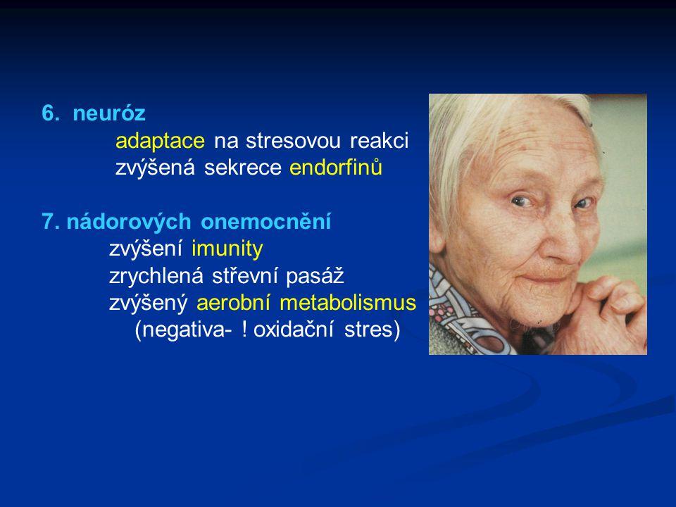 6. neuróz adaptace na stresovou reakci zvýšená sekrece endorfinů 7. nádorových onemocnění zvýšení imunity zrychlená střevní pasáž zvýšený aerobní meta