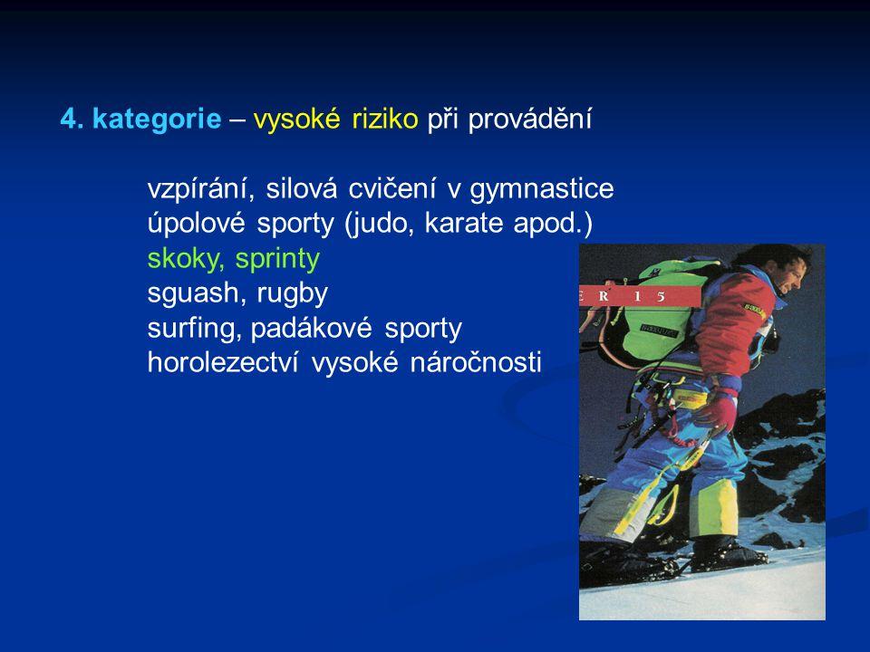 4. kategorie – vysoké riziko při provádění vzpírání, silová cvičení v gymnastice úpolové sporty (judo, karate apod.) skoky, sprinty sguash, rugby surf
