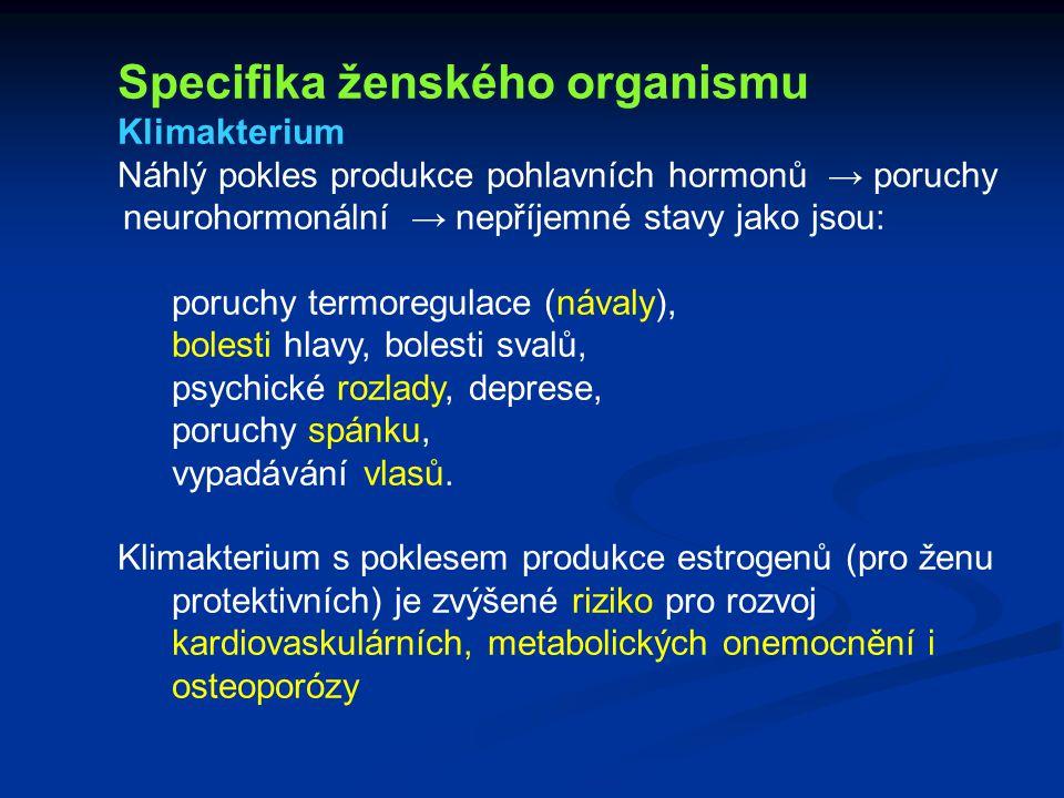 Specifika ženského organismu Klimakterium Náhlý pokles produkce pohlavních hormonů → poruchy neurohormonální → nepříjemné stavy jako jsou: poruchy ter