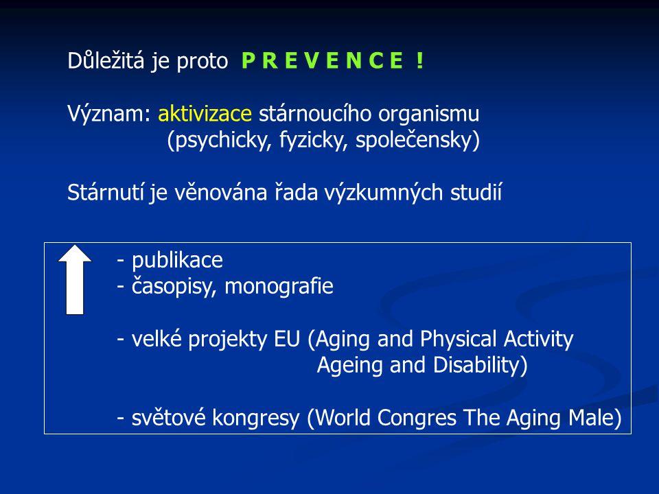Důležitá je proto P R E V E N C E ! Význam: aktivizace stárnoucího organismu (psychicky, fyzicky, společensky) Stárnutí je věnována řada výzkumných st