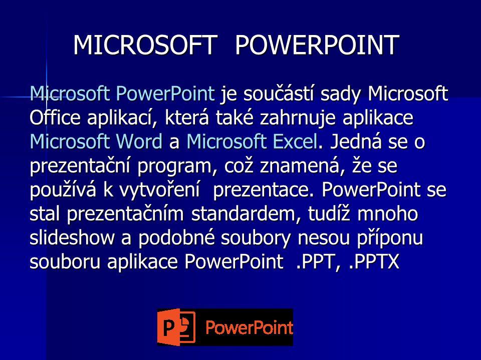 MICROSOFT POWERPOINT Microsoft PowerPoint je součástí sady Microsoft Office aplikací, která také zahrnuje aplikace Microsoft Word a Microsoft Excel.